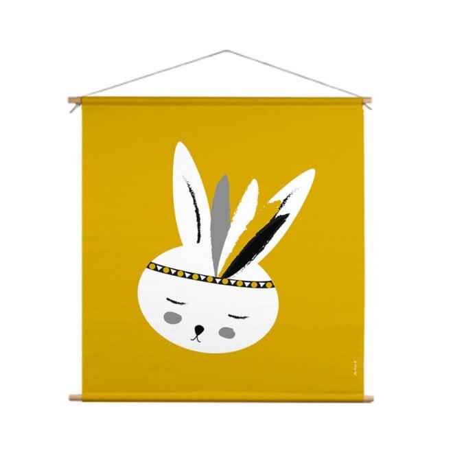 xl textielposter konijntje okergeel hiphuisje