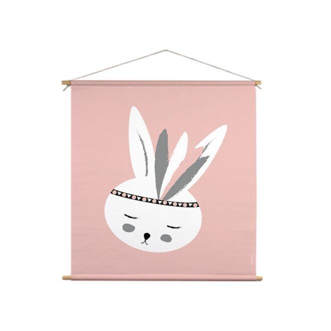xl textielposter roze konijntje hiphuisje