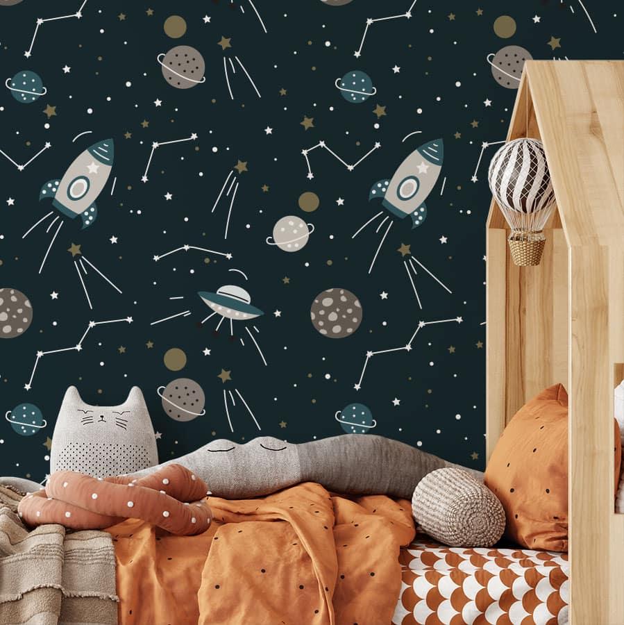 kinderkamer behang ruimtevaart