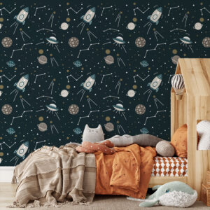 kinderkamer behang ruimtevaart heelal hiphuisje