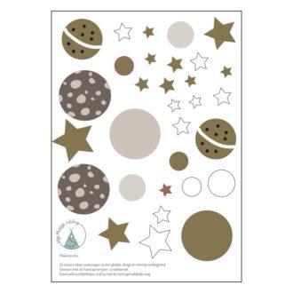 kleine muurstickers met planeten en sterren hip huisje