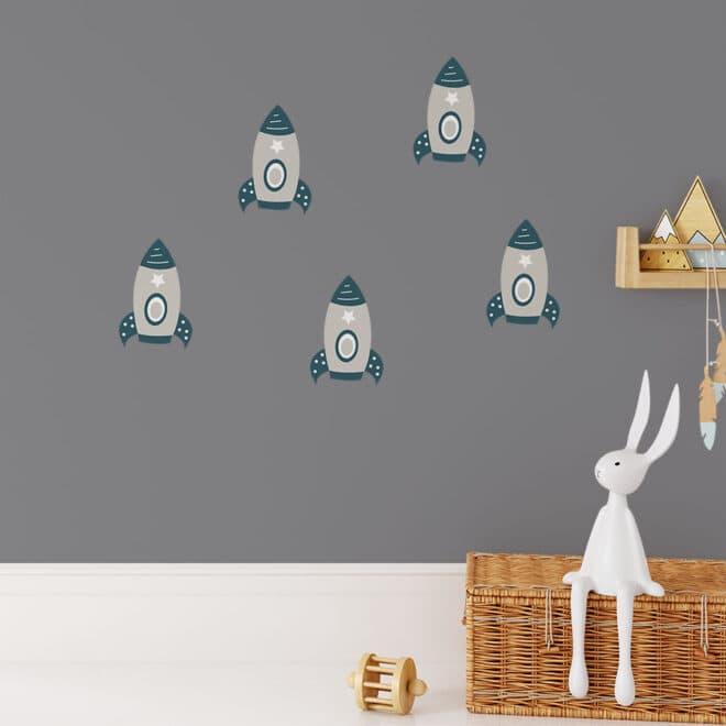 kleine muurstickers met raketten ruimtevaart hiphuisje