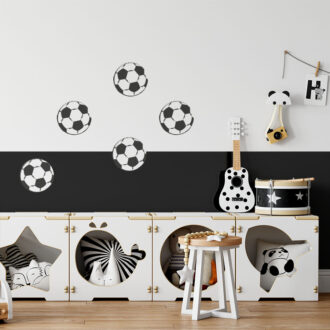 kleine muurstickers voetbal zwartwit hiphuisje