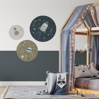muurcirkels met ruimtevaart thema hippe kinderkamer accessoires hiphuisje
