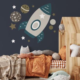 muursticker ruimtevaart raket heelal xl hiphuisje