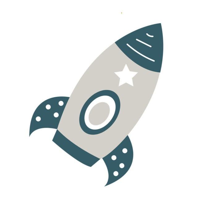 raket muurstickers klein