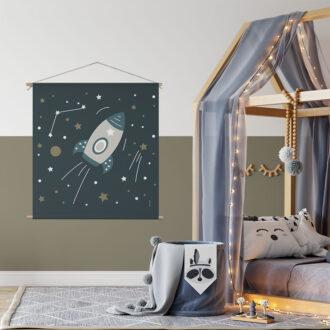 Textielposter met ruimtevaart heelal hiphuisje