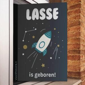 geboortebord met ruimtevaart raket raam hiphuisje kopieren