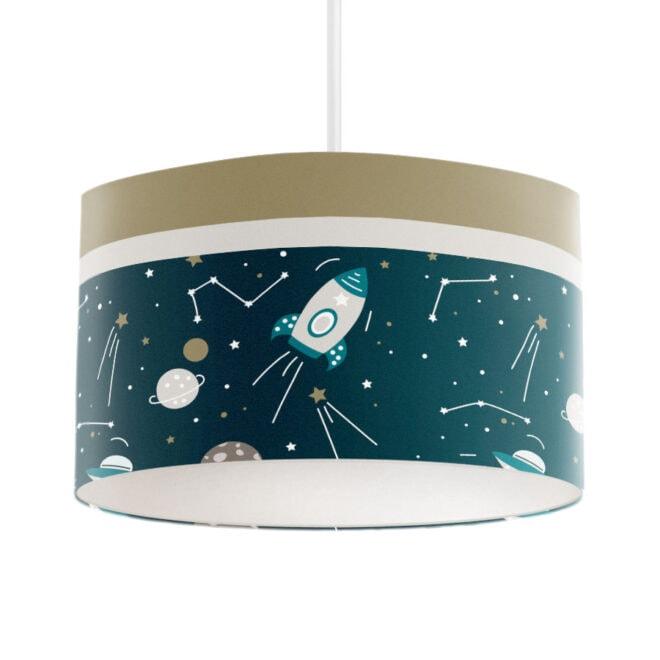 hanglamp met ruimtevaart print kinderlamp kinderkamer