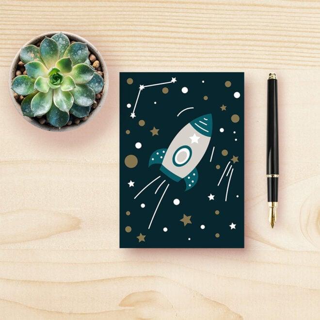 kaart ruimtevaart donkerblauw heelal hip huisje