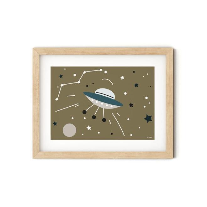 poster met ruimtevaart liggend bruin hiphuisje