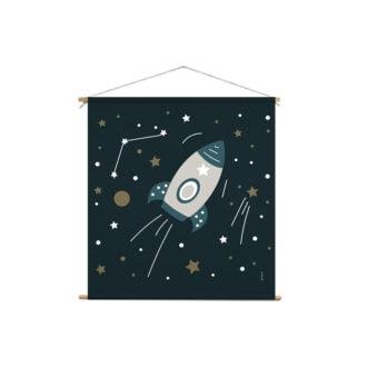 xl textielposter ruimtevaart donkerblauw hiphuisje