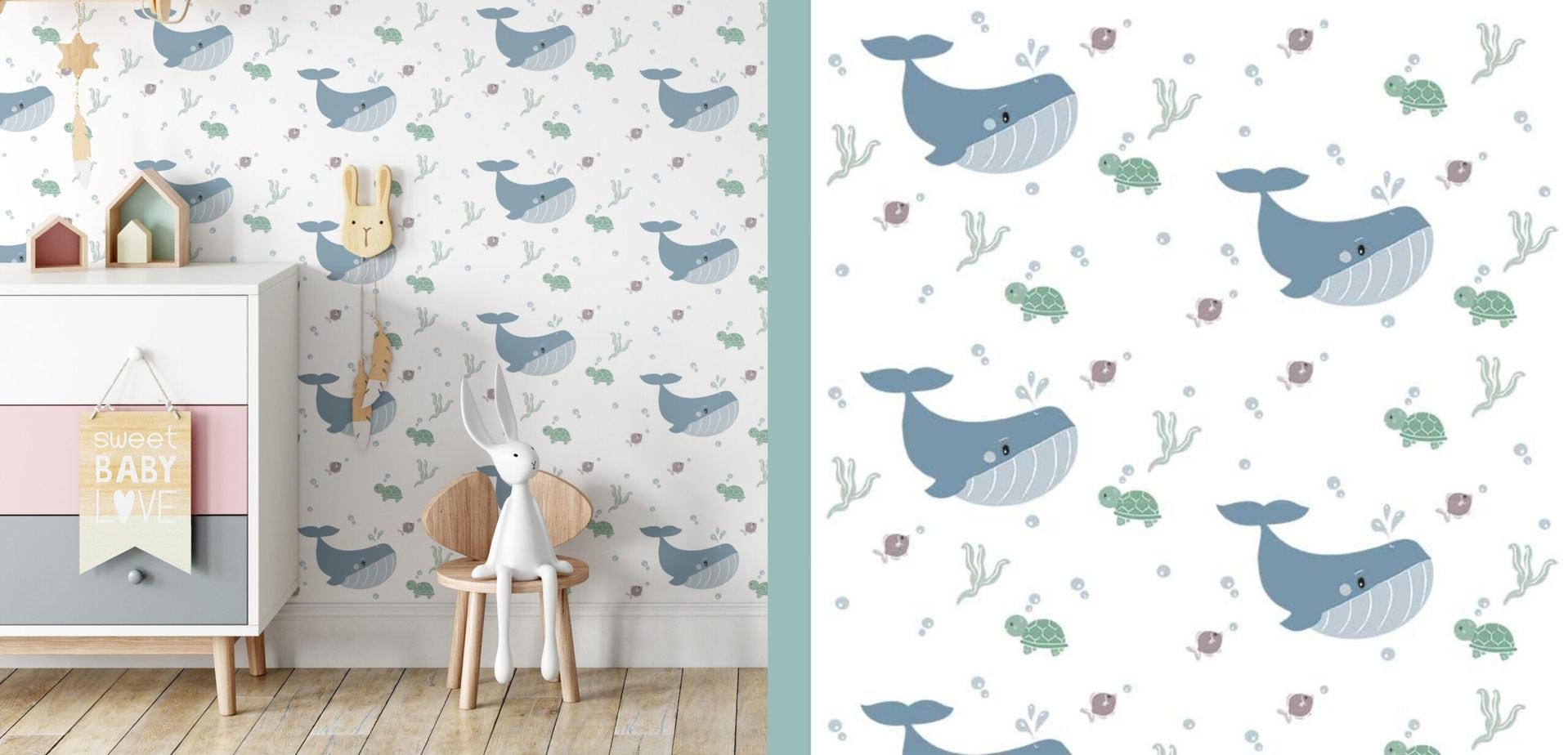 behang walvis oceaan babykamer