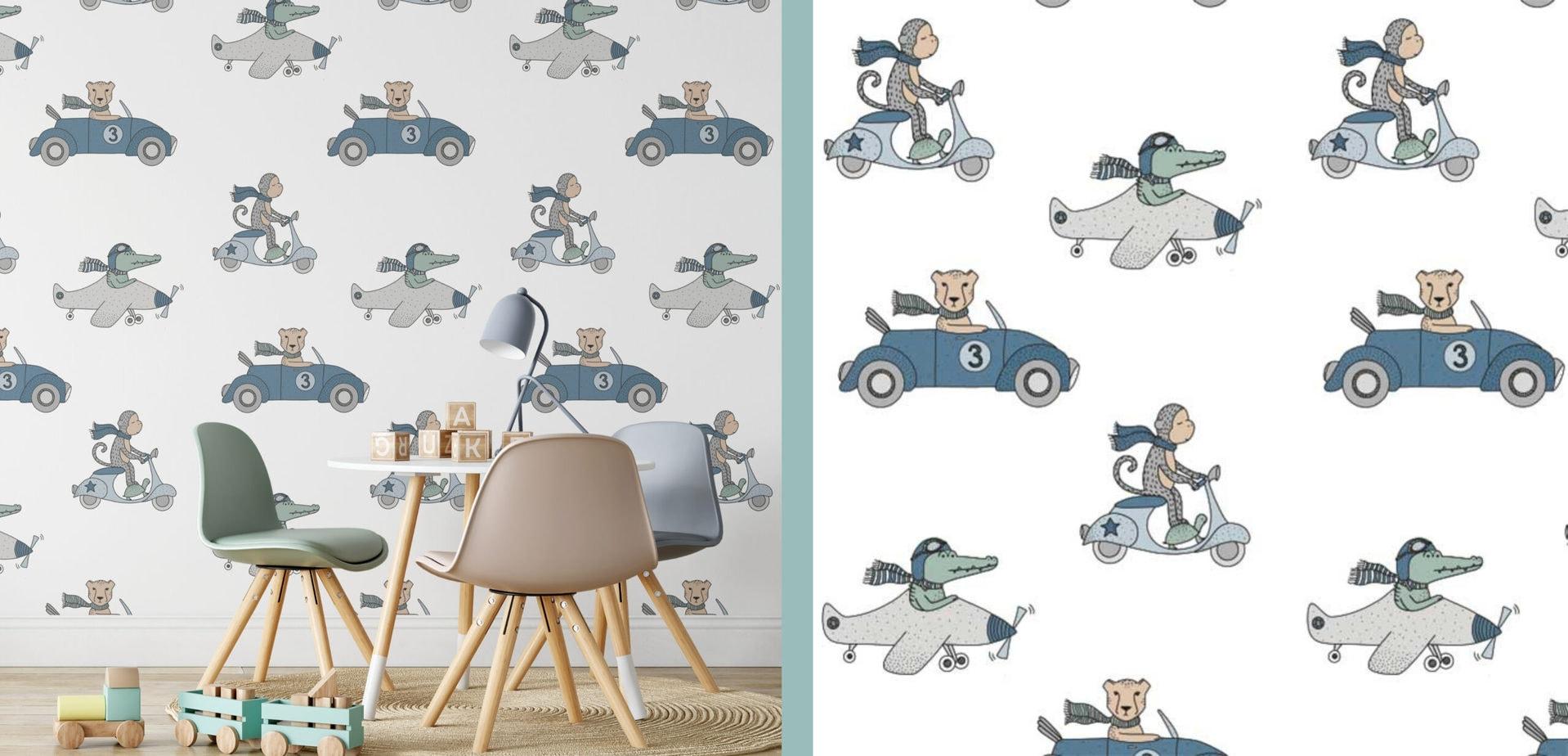 behang kinderkamer dieren voertuigen hiphuisje scaled