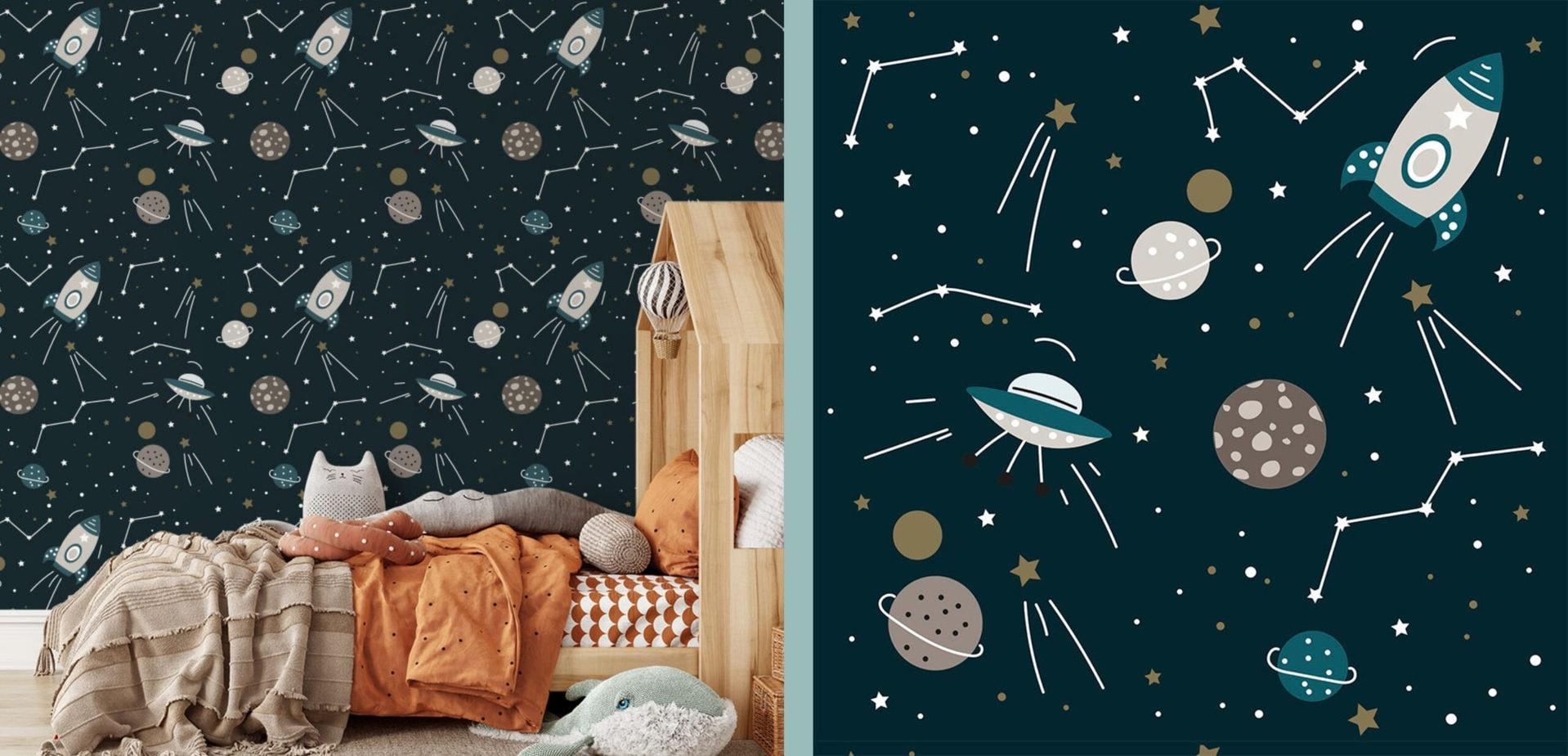 behang kinderkamer ruimtevaart heelal