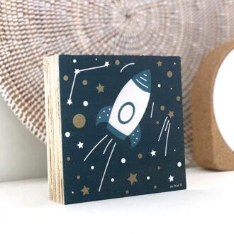detail decoblok met ruimtevaart heelal hiphuisje