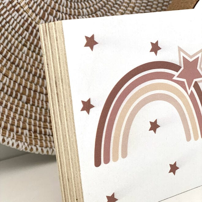 detail houtenblok regenboog naturel hiphuisje
