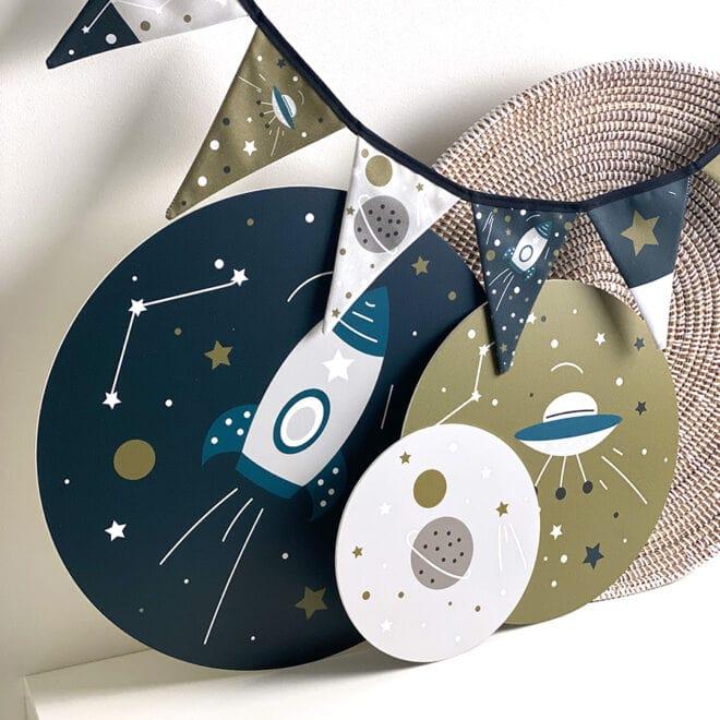 vlaggenlijn ruimtevaart muurcirkels