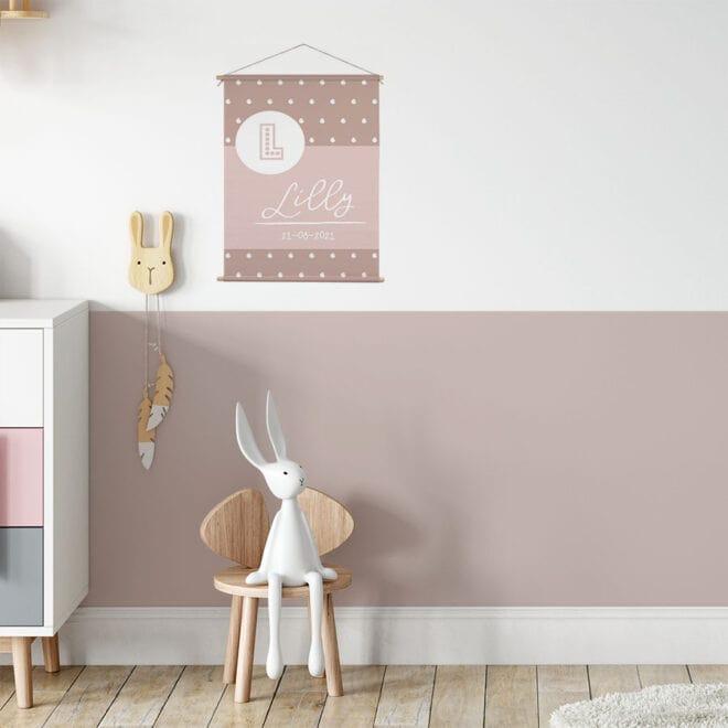 roze naamposter letter roze geboorteposter hiphuisje kopiëren