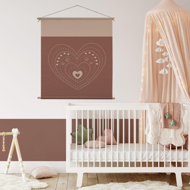 Xl textielposter met hartje naturel meisjeskamer muurdecoratie kinderkamer hiphuisje